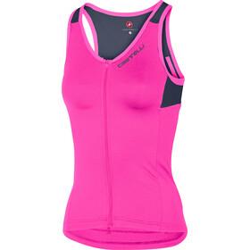 Castelli Solare T-shirt SL Femme, pink fluo/dark steel blue
